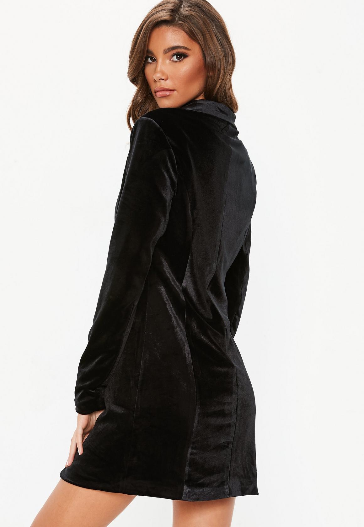 Missguided - robe-blazer en velours e à boutons dorés tall - 2