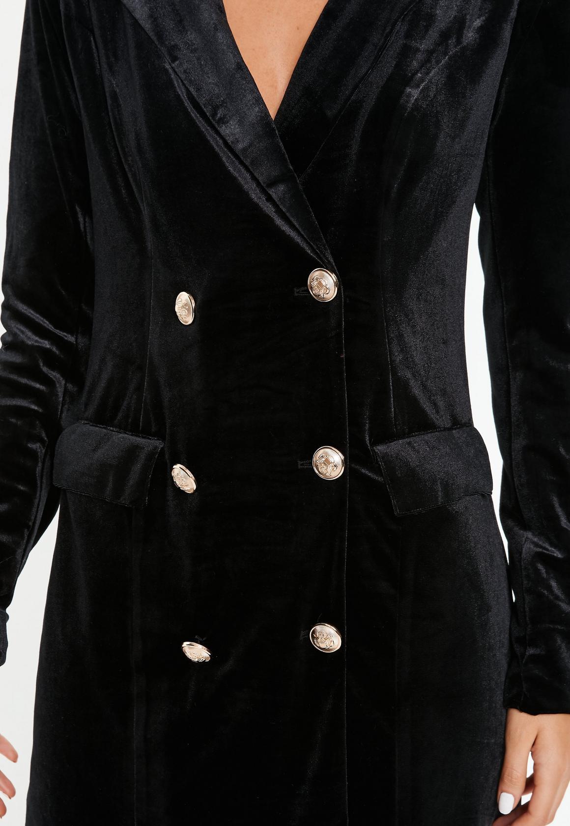 Missguided - robe-blazer en velours e à boutons dorés tall - 4