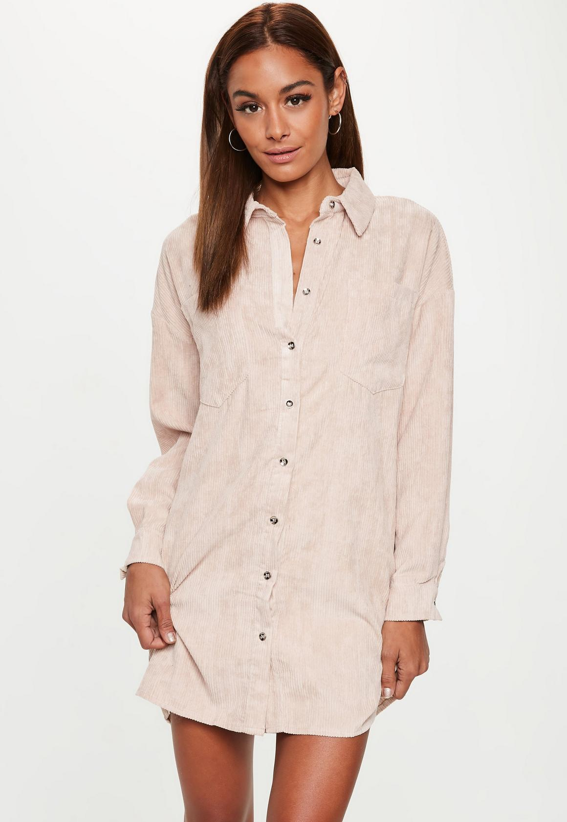 362ea946b4 Tall Cream Oversized Cord Shirt Dress. Previous Next