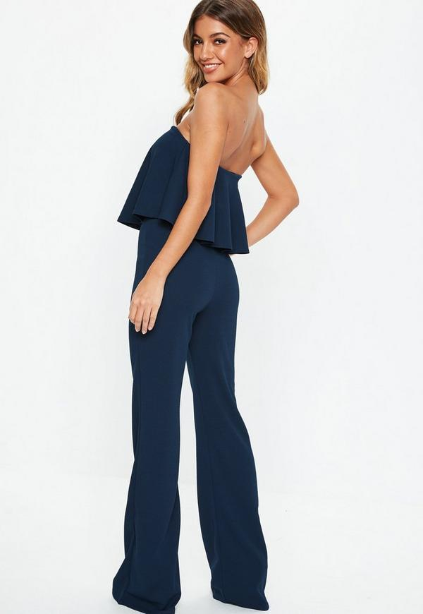 c6f4654e384 Tall Navy Bandeau Frill Wide Leg Jumpsuit. Previous Next