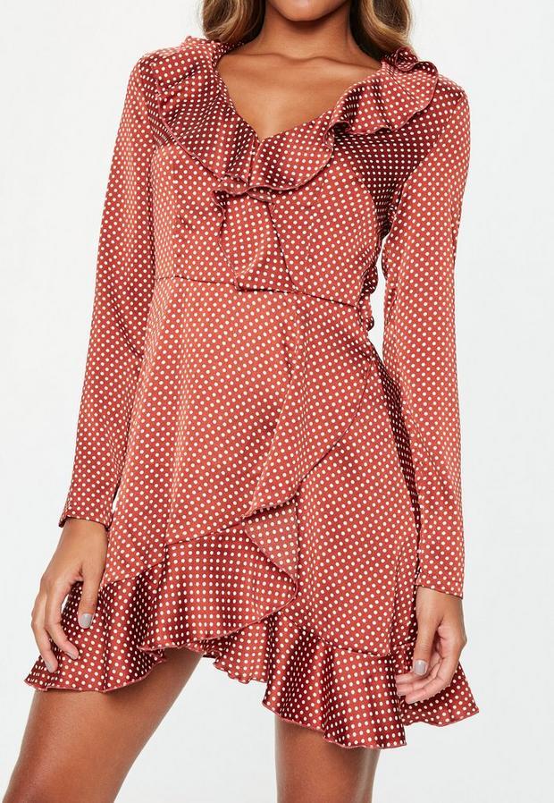 Missguided - Tall Rust Polka Dot Satin Tea Dress, Rust - 3