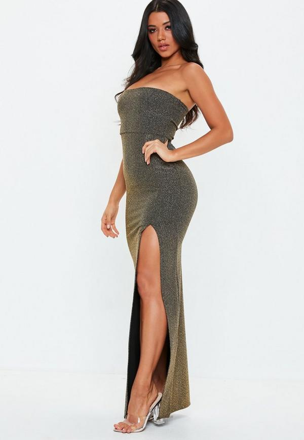 46a7ffe8135c Tall Gold Metallic Strapless Maxi Dress
