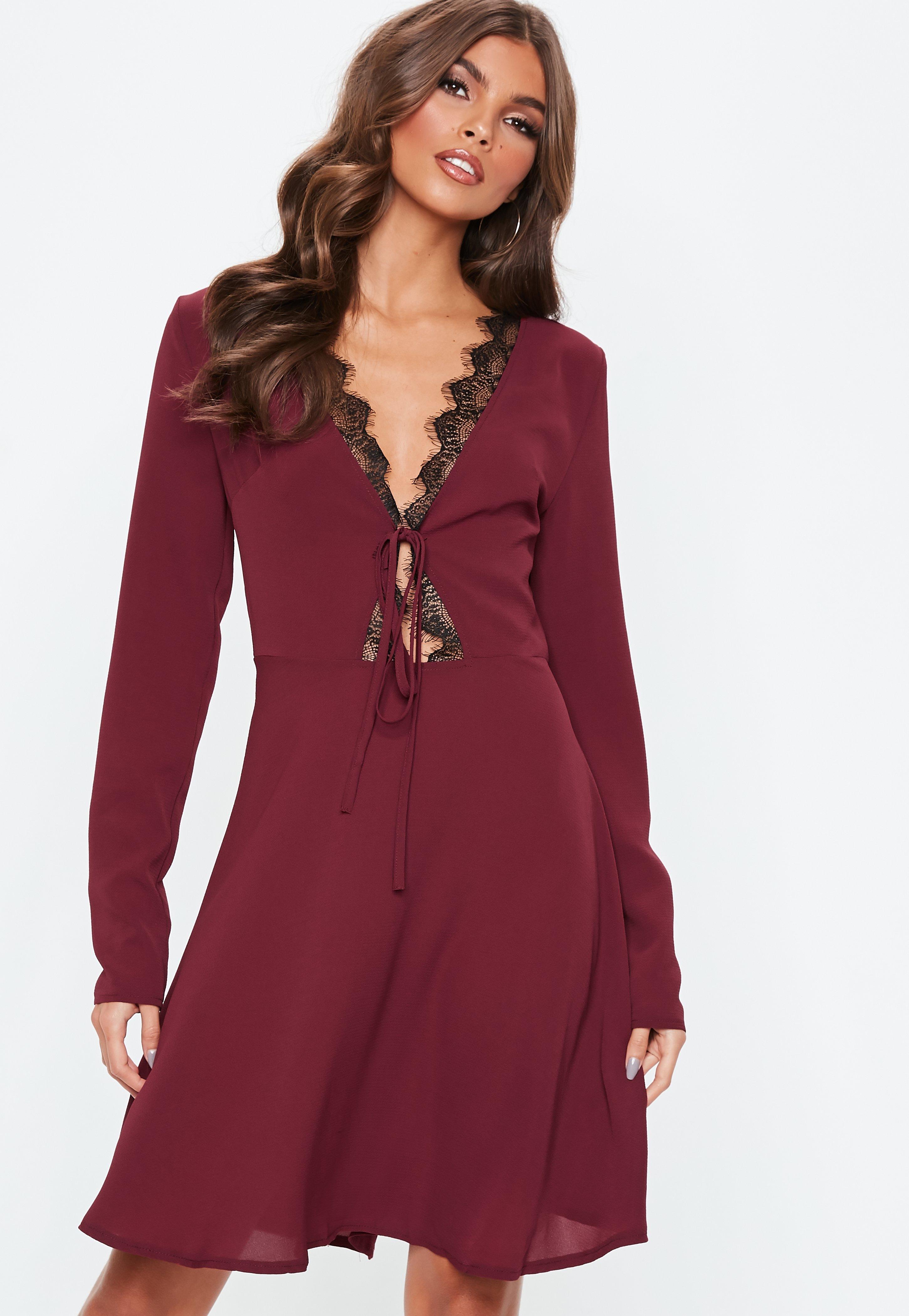 9fbdd9128992 Tall Burgundy Lace Trim Skater Dress