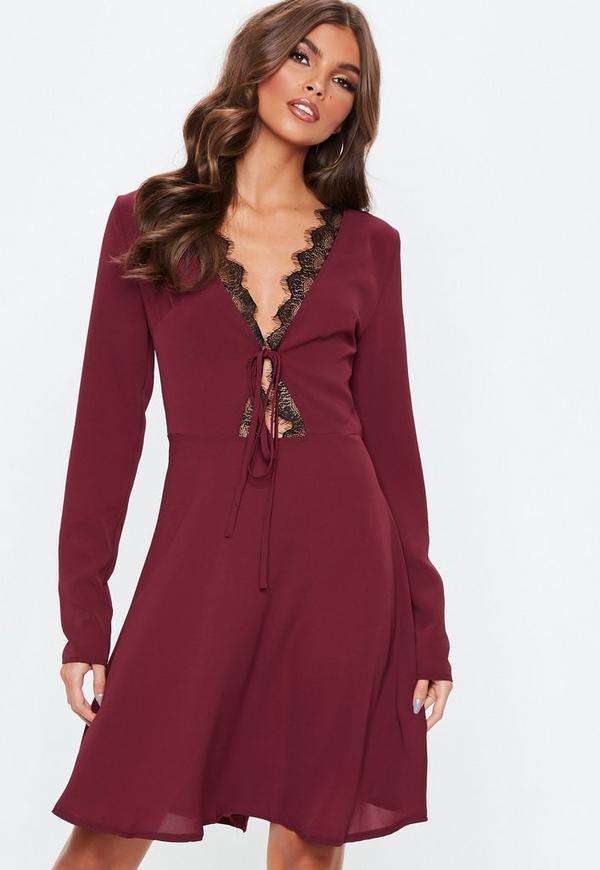b10d2adae1 Tall Burgundy Lace Trim Skater Dress