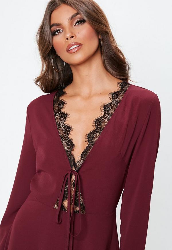 ... Tall Burgundy Lace Trim Skater Dress. Previous Next 486886c0c6f1