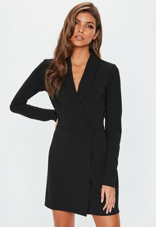 Petite Black Long Sleeve Blazer Dress Missguided