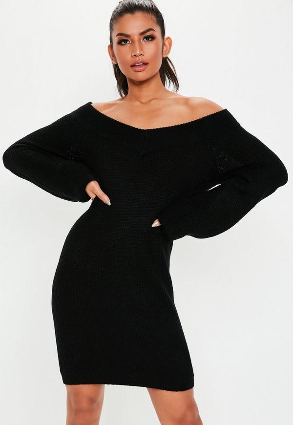 ... Tall Black V Neck Off Shoulder Sweater Dress. Previous Next 06858d8f8