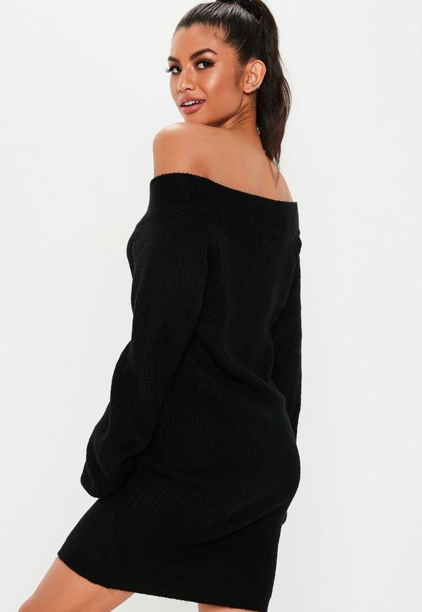 Tall Black V Neck Off Shoulder Sweater Dress Missguided