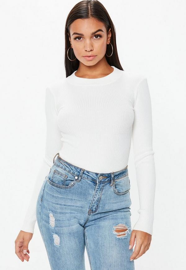 Tall White Crew Neck Ribbed Bodysuit  ea429d70d