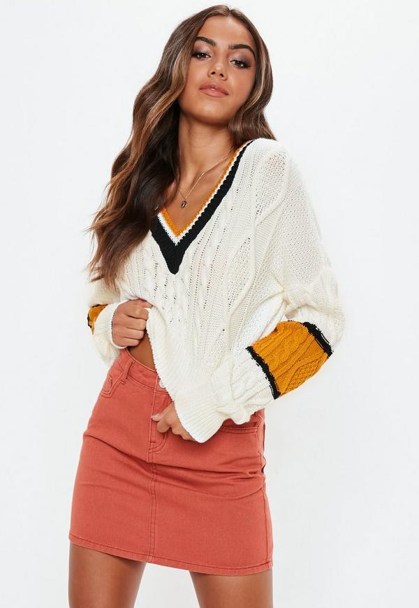 Tall Cream V Neck Cable Colourblock Cropped Jumper by Missguided