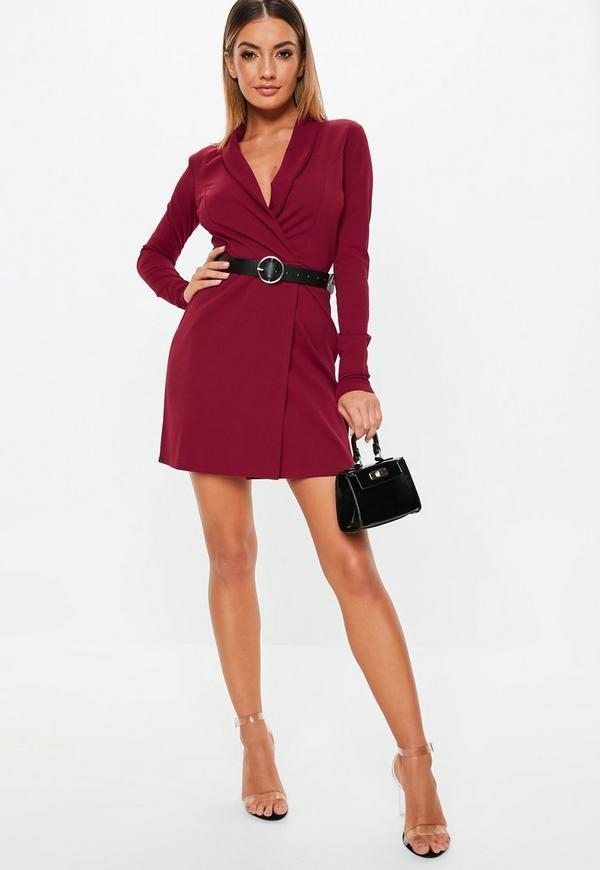 Petite Burgundy Blazer Dress
