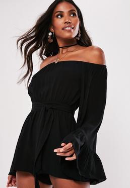 48d5aca88d58 ... Tall Black Flare Sleeve Bardot Romper