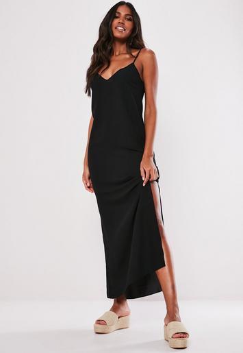 Tall Black Split Leg Maxi Dress Missguided