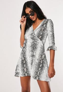 4aae59ce1f Tall Grey Snake Print Skater Dress