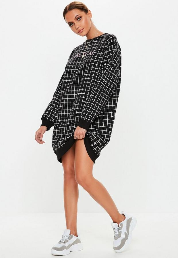 Missguided - Salty Af Grid Sweater Dress - 1