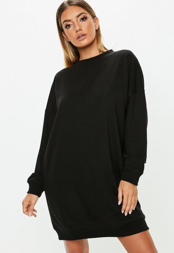 Tall Black Oversized Sweater Dress Missguided