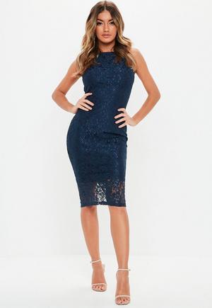 9c442aa0 Cobalt Blue Lace Halterneck Midi Dress | Missguided
