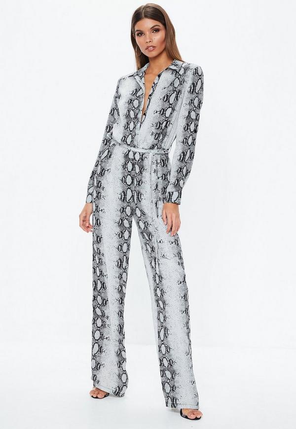 8c95ea49e6 ... Tall Gray Snake Print Wide Leg Jumpsuit. Previous Next
