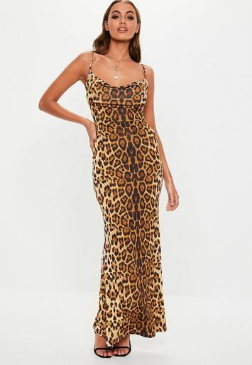 Tall Brown Leopard Cowl Neck Maxi Dress Missguided