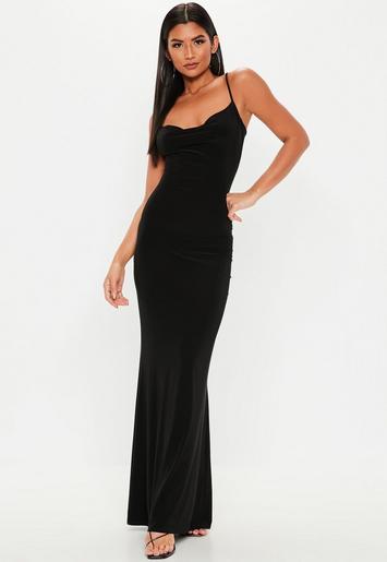 Tall Black Slinky Cowl Neck Maxi Dress Missguided