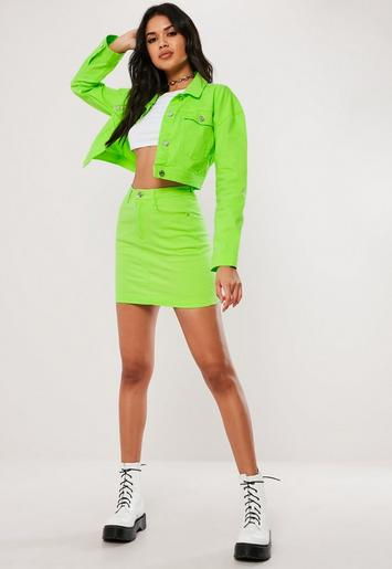 Tall Neon Green Cropped Denim Jacket Missguided Ireland