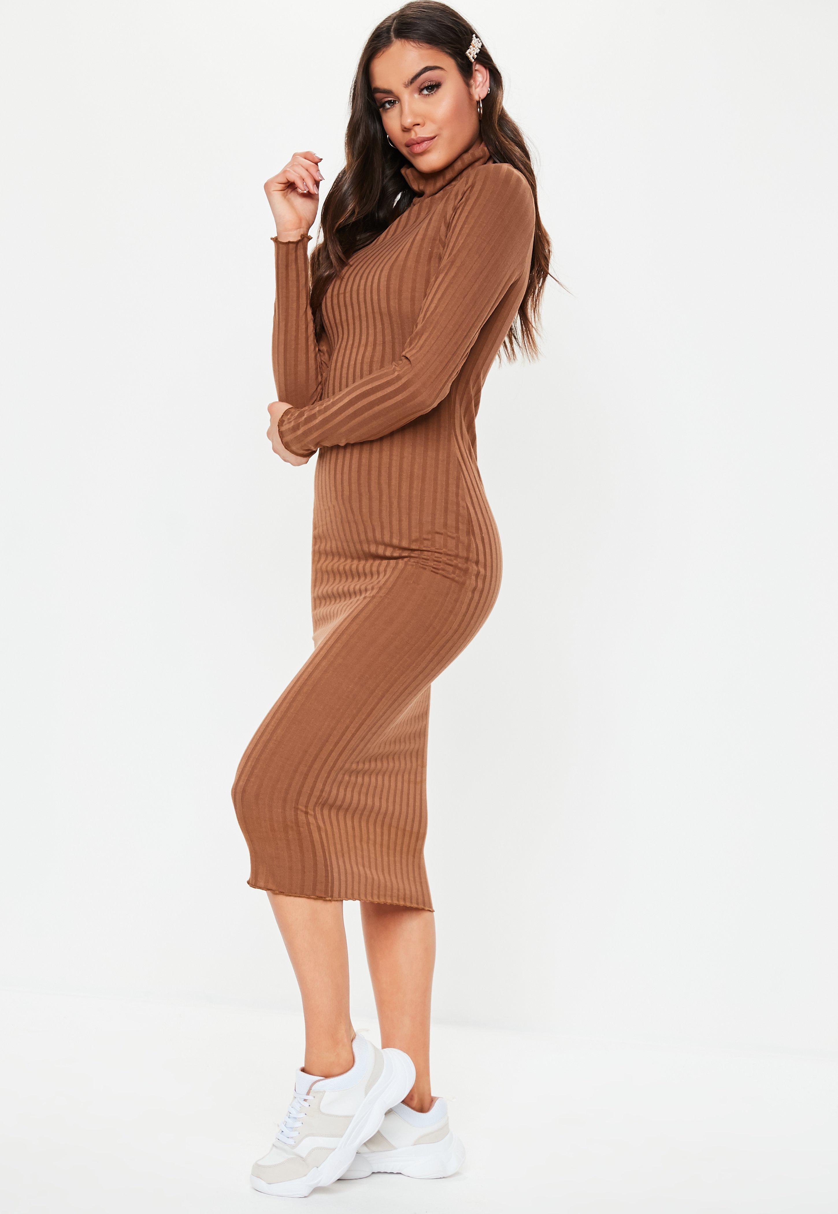 86f4bf1572c Tall Camel Ribbed Roll Neck Midi Dress