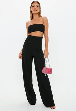 ... Pantalon large stretch noir taille super haute Tall b271169abd2