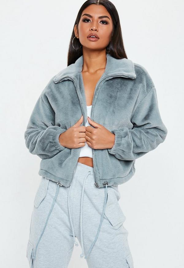 54374edc286 Tall Grey Faux Fur Bomber Jacket