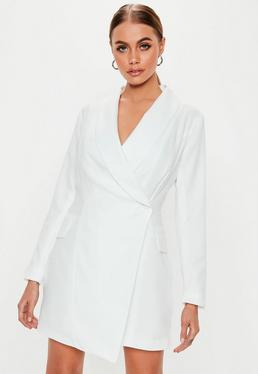 Tall White Asymmetric Blazer Dress 169882c02