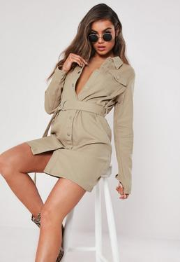 5f5d11a6be Tall Sand Button Through Utility Shirt Dress