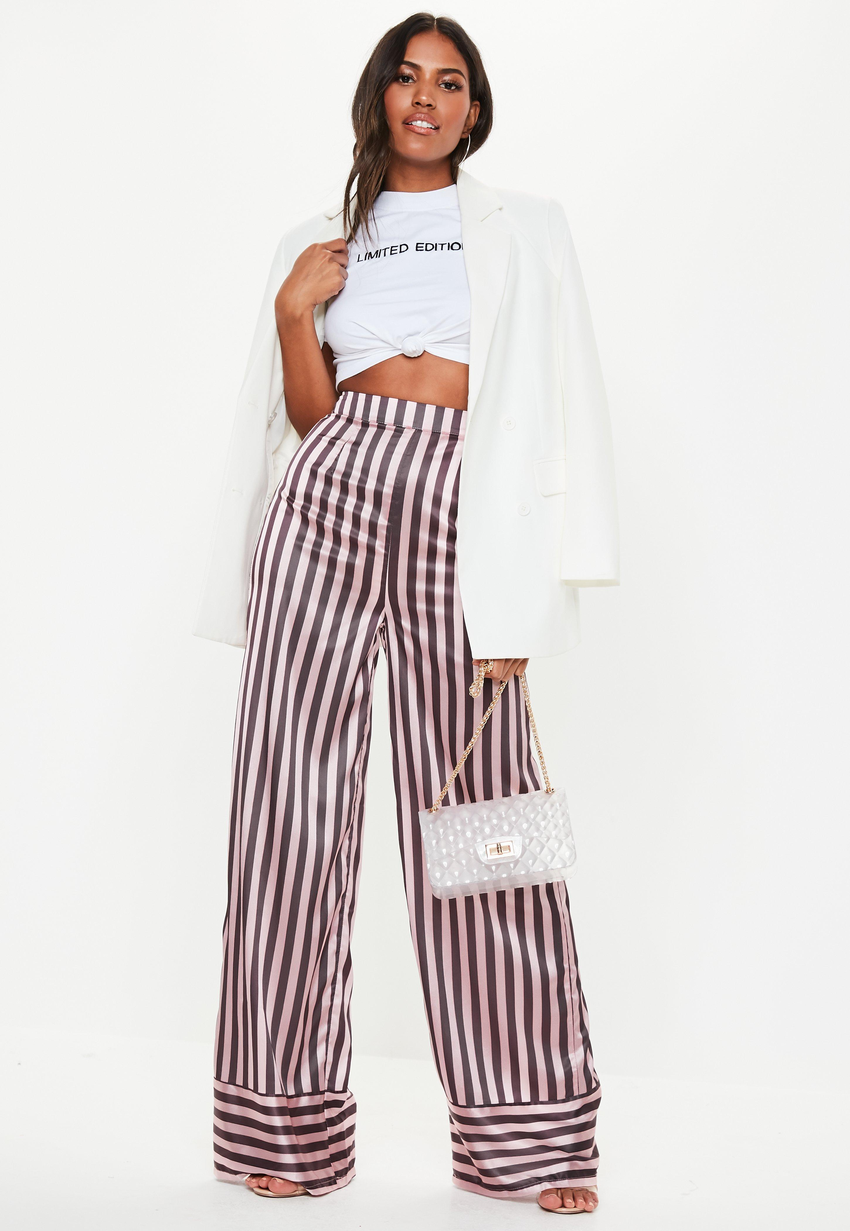 3e4519307f3f8 Pantalon large en satin rose à rayures Tall   Missguided