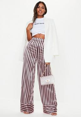 cc7674db310d ... Tall Pink Stripe Wide Leg Trousers
