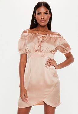 c411faf6a2039 ... Tall Champagne Satin Bardot Milkmaid Dress