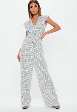 47b51b039e ... Tall White Polka Dot Print Wide Leg Jumpsuit