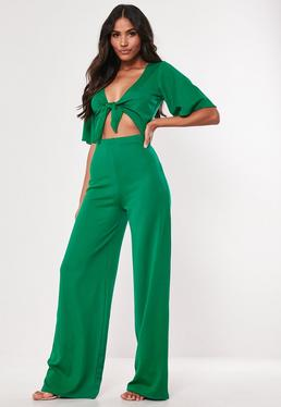 9982d6d630c4 Black Ribbed Pocket Jumpsuit  Tall Green Kimono Sleeve Cut Out Jumpsuit