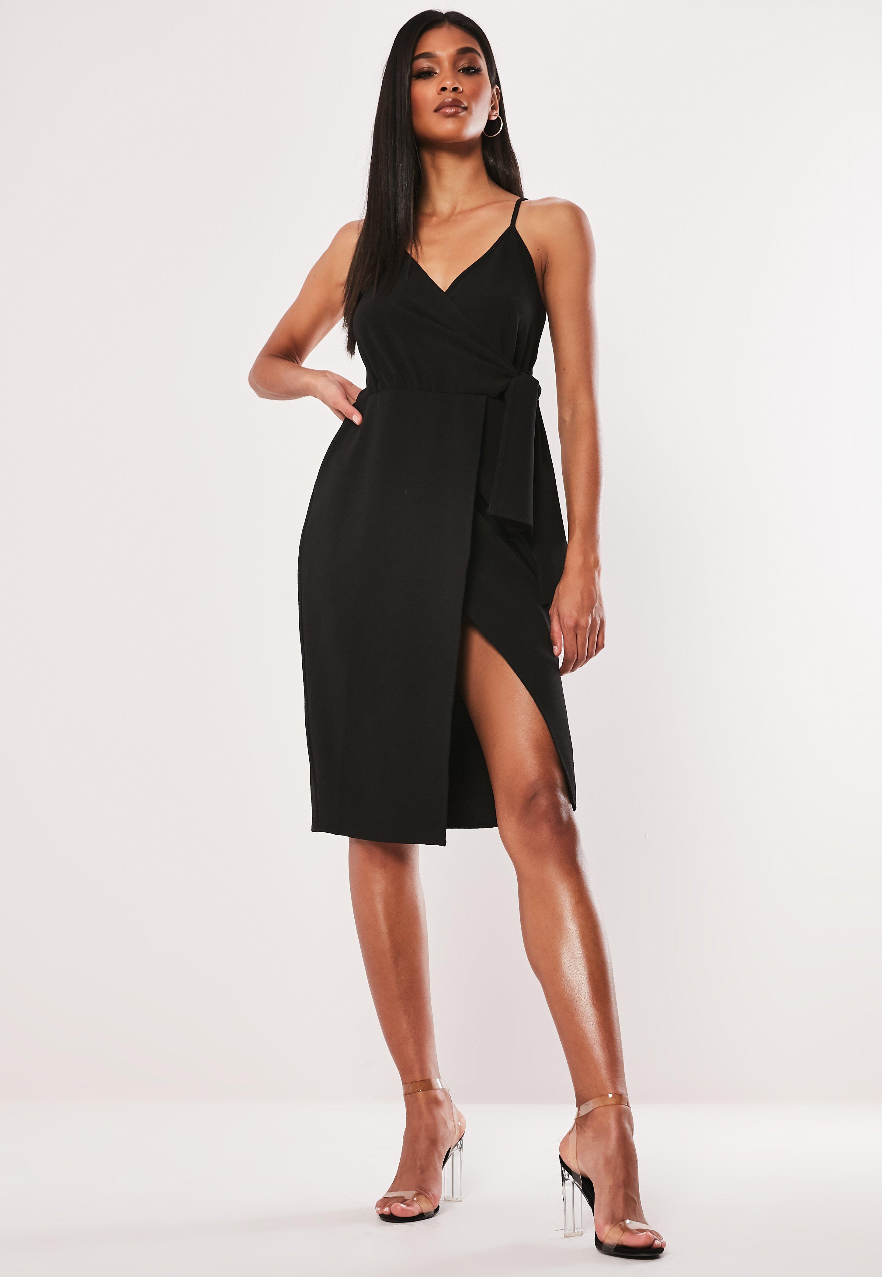 688fbca9ce3cae Black Wrap Dresses | Shop Black Wrap Dresses Online - Missguided