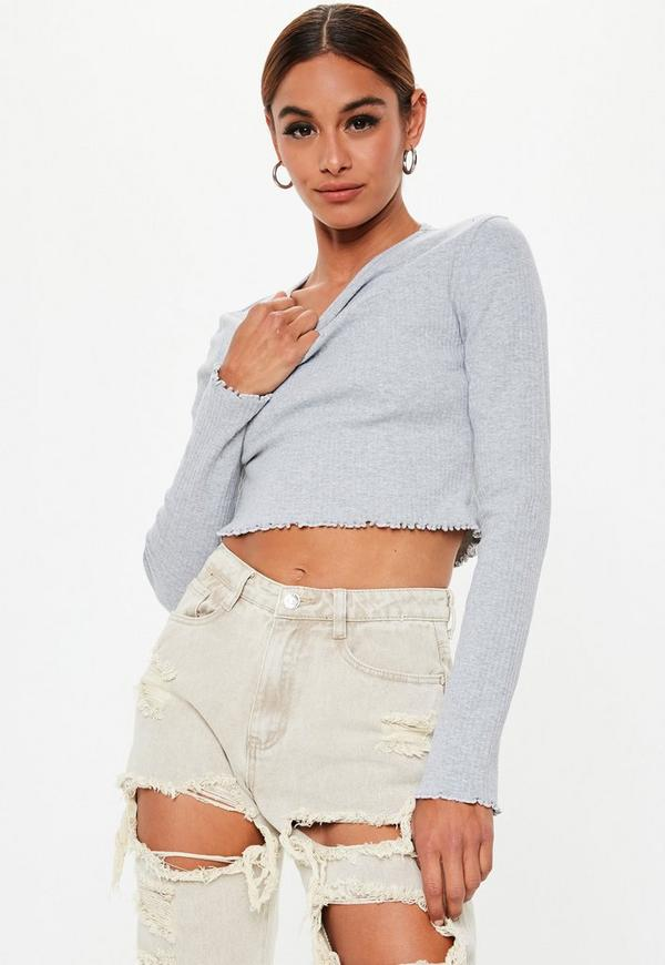 Tall Gray Rib Long Sleeve Crop Top by Missguided