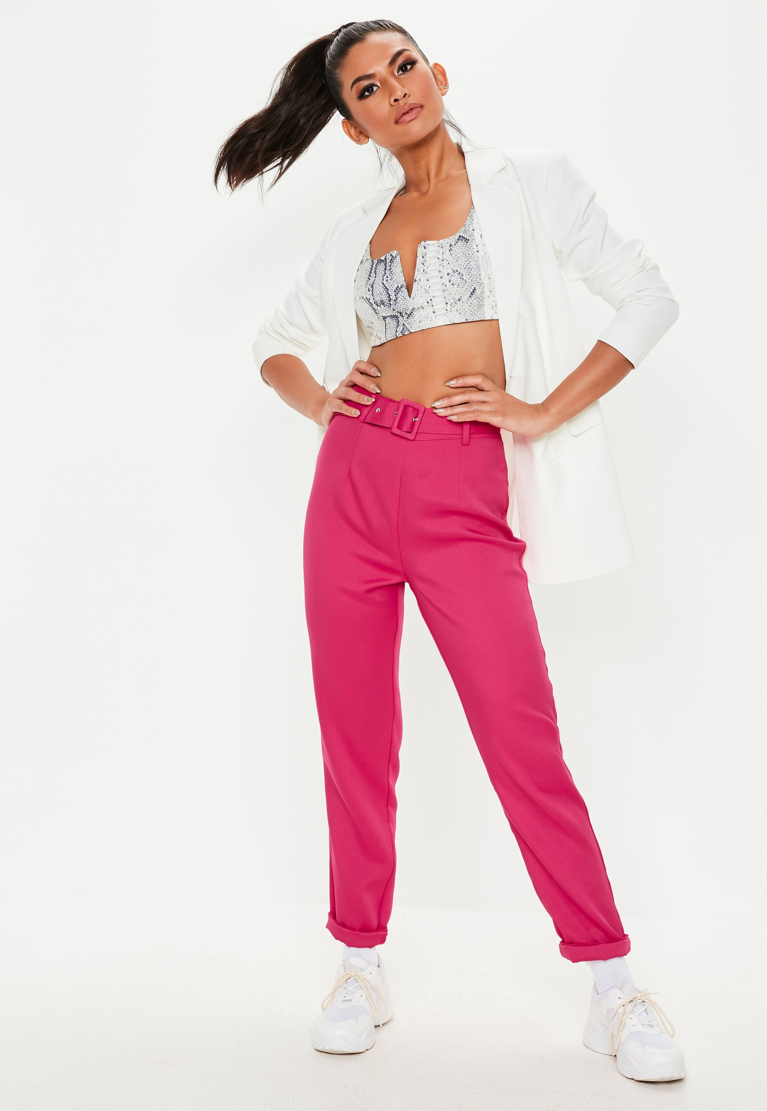 innovative design e7f2d dfc4b Tall Pink Belted Cigarette Pants   Missguided