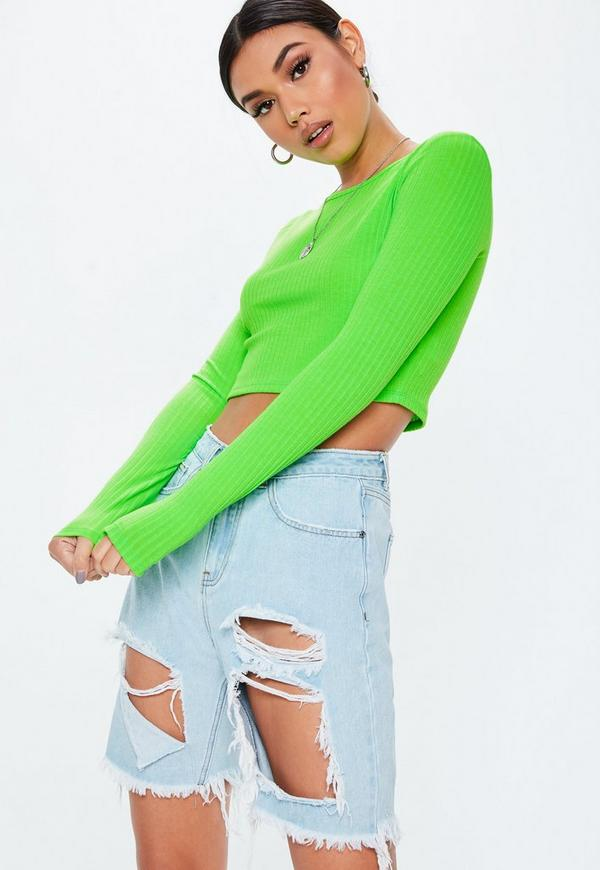 0f3e9181e6af4 Tall Lime Ribbed Long Sleeve Crop Top