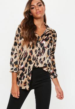bdaab4a5b829a Rose Wrap Over Tie Side Blouse · Tall Brown Leopard Print Satin Shirt