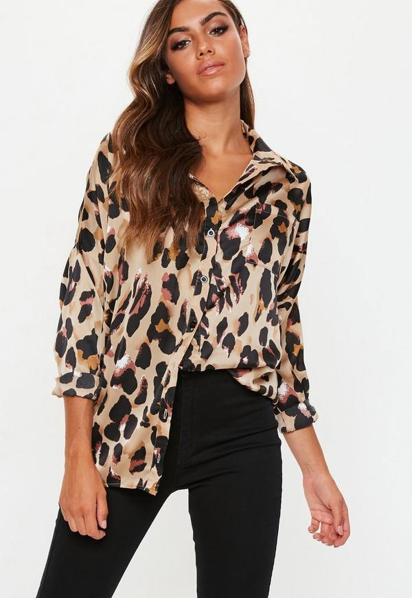 Tall Brown Leopard Print Satin Shirt Missguided