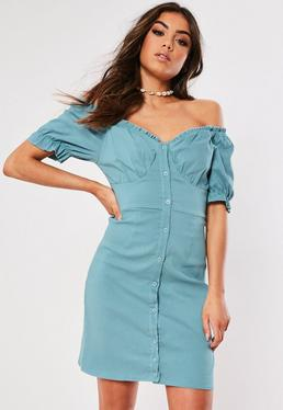 a8abe869be9b White Poplin Bardot Mini Dress  Tall Blue Milkmaid Bardot Mini Dress