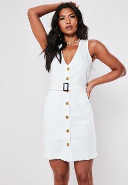 39db7c08798 Tall White Denim Belted Plunge Mini Dress