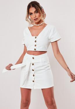 Укороченный джинсовый топ Button White White Co Ord