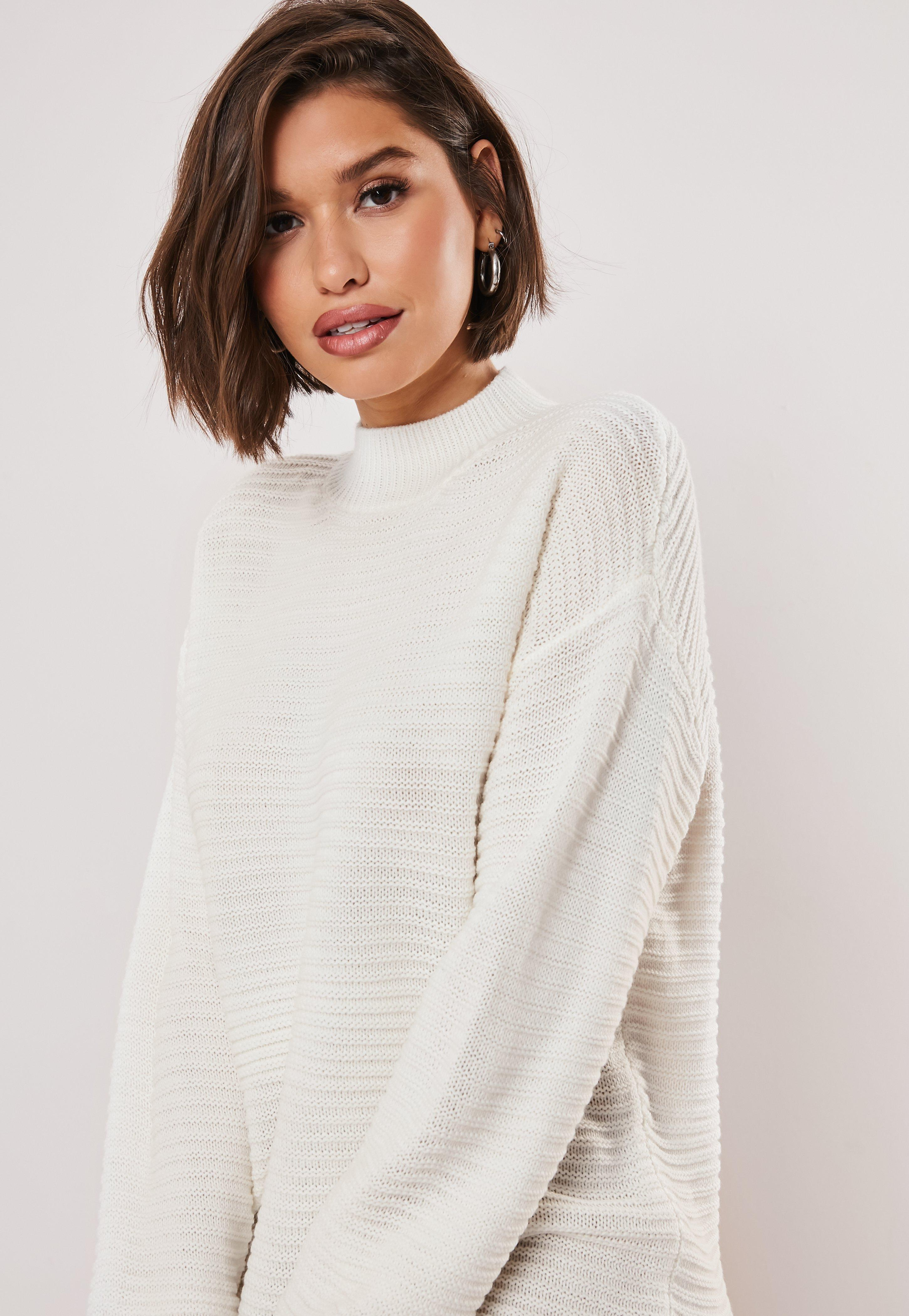 a96aedc00ed Tall White High Neck Ribbed Knitted Dress
