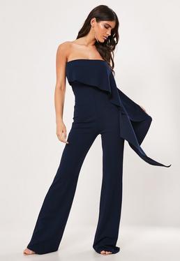 Широкий темно-синий комбинезон с широкими штанинами и оборками