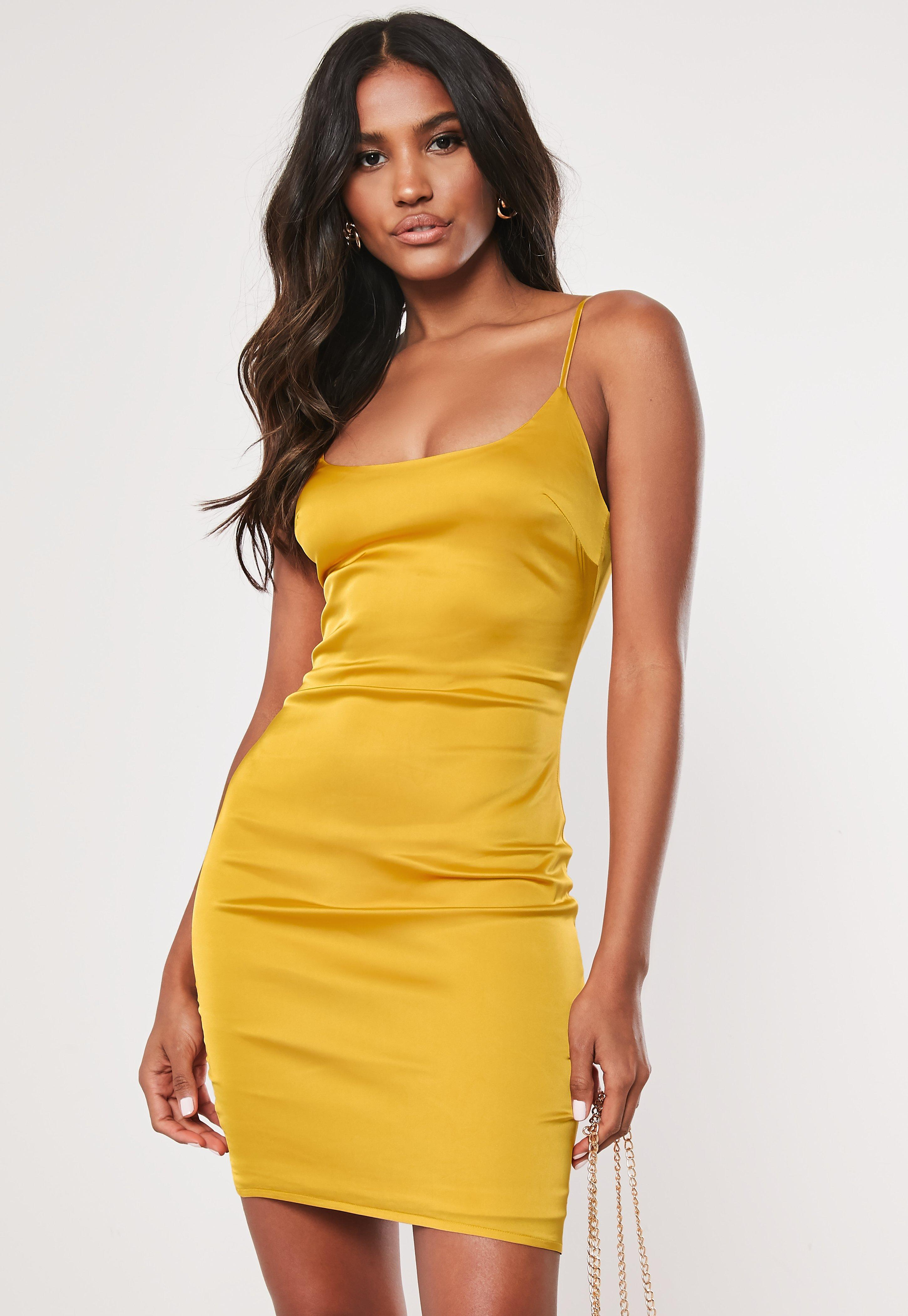 557a096c5af5 Tall Mustard Satin Slip Dress | Missguided