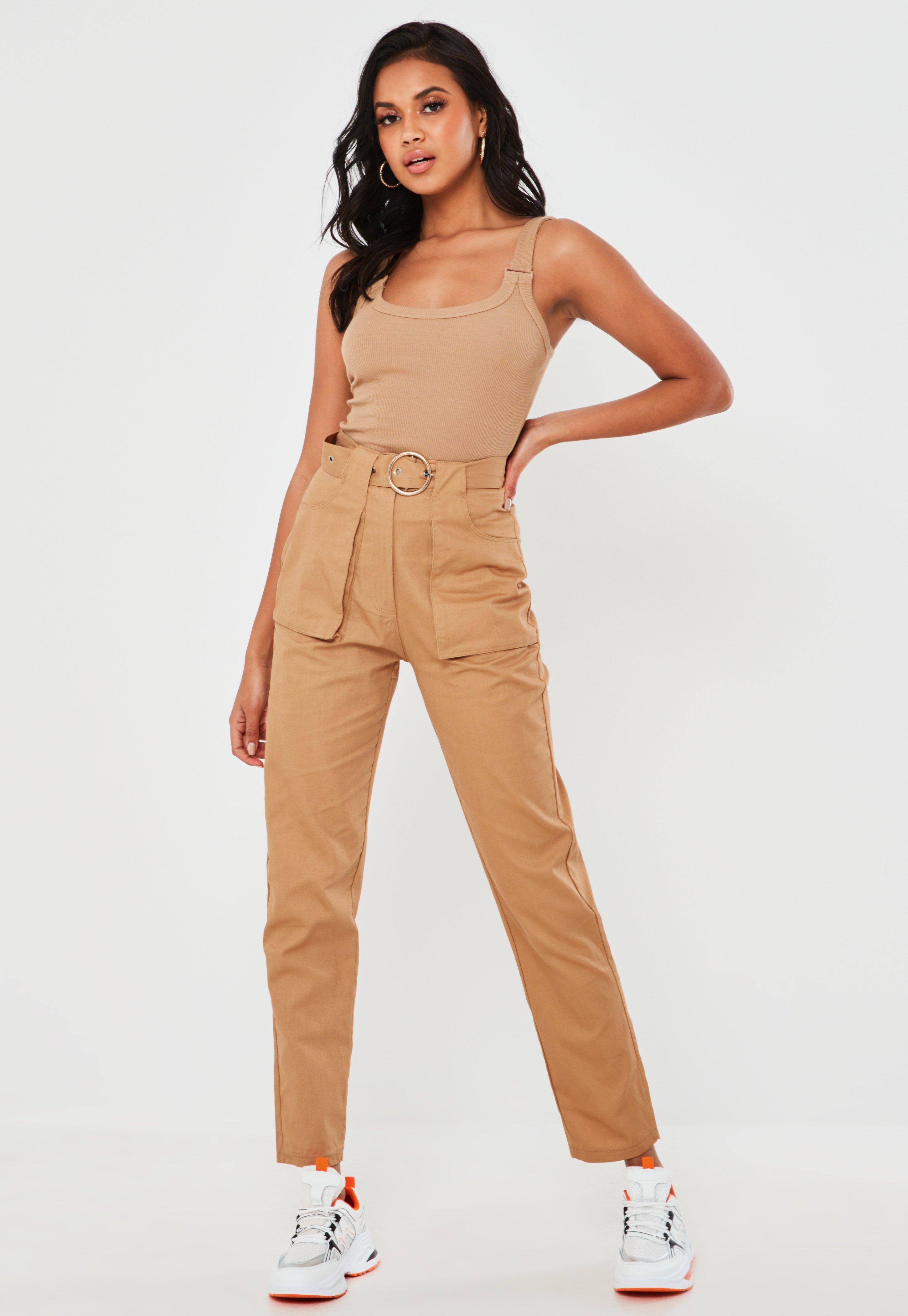 Tall Cieliste spodnie cargo z paskiem