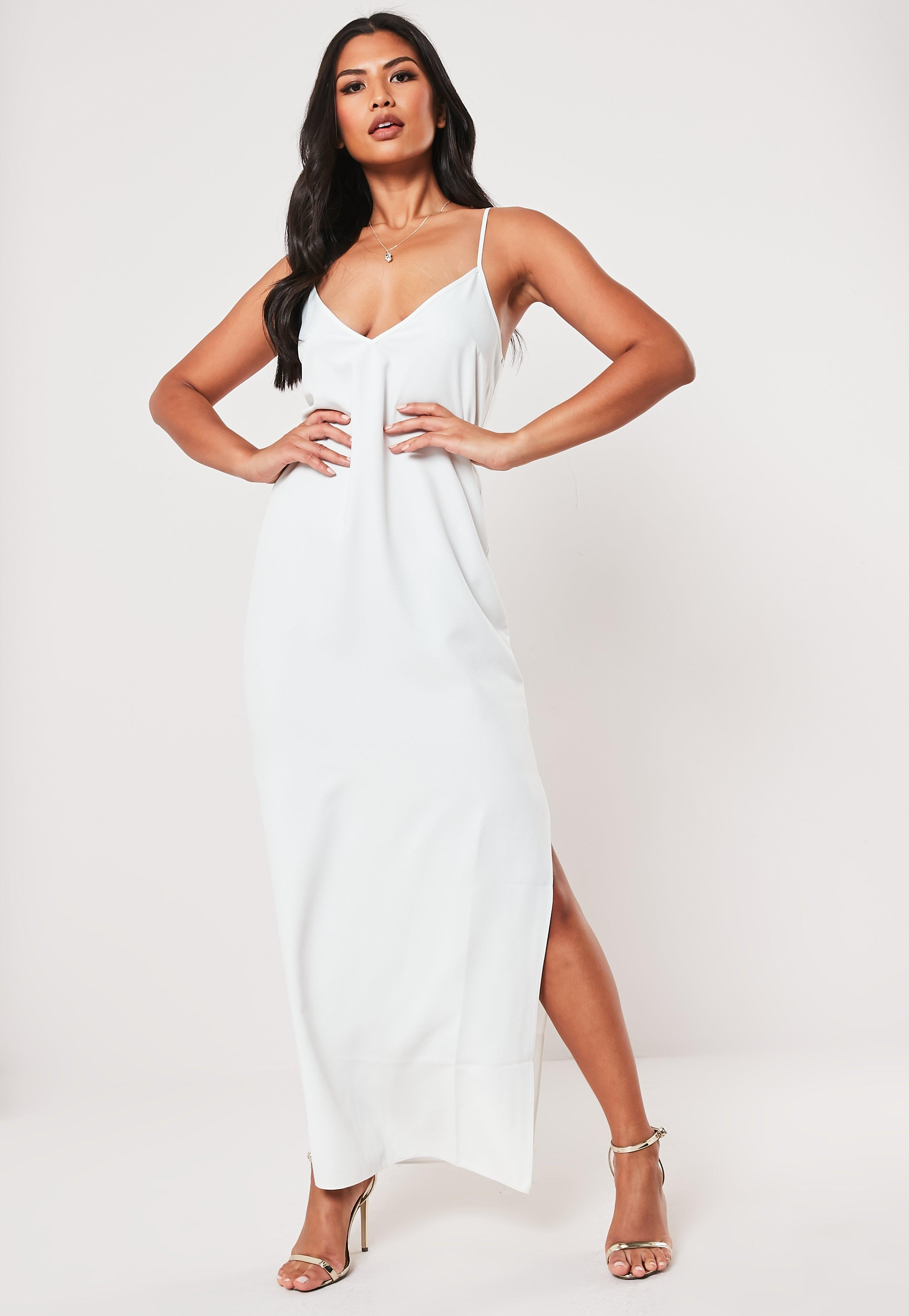 Tall White Side Split Maxi Dress by Missguided