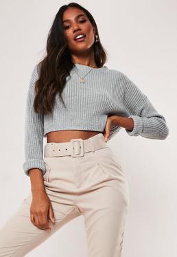 ec0e25a00f3f5a Black Off Shoulder Cropped Knitted Jumper · Tall Grey Super Cropped Knitted  Jumper